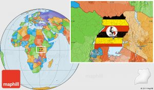 Flag location map of Uganda, political outside.